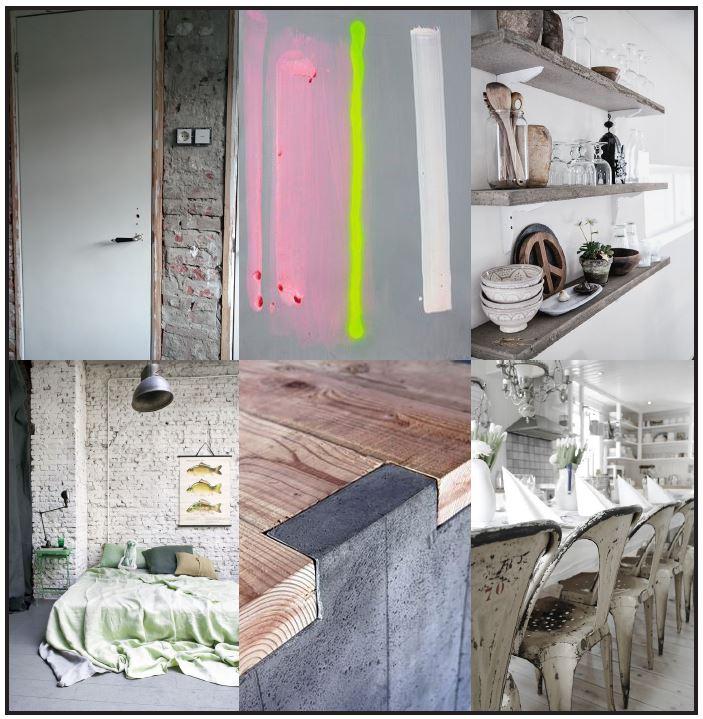 Een moodboard met een verbeelding van de woorden: industrieel, vernieuwend, stoer, samenwerken, milieu, okergeel